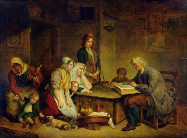 Greuze, Jean-Baptiste, 1725-1805; A Father Reading the Bible to His Family